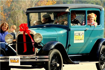 The 2010 Christmas parade featuring the WTLS entry Model A, driven by Delmar McCaig