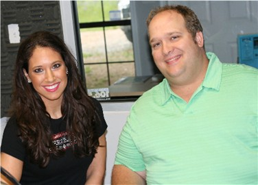 Tallassee's own and Atlanta Falcons cheerleader Jennifer Turner with Miles Hathcock in the WTLS studio