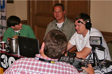 Brett and Gary Buchanan with Michael Butler and Graham Dunn on Radio Row at Media Days